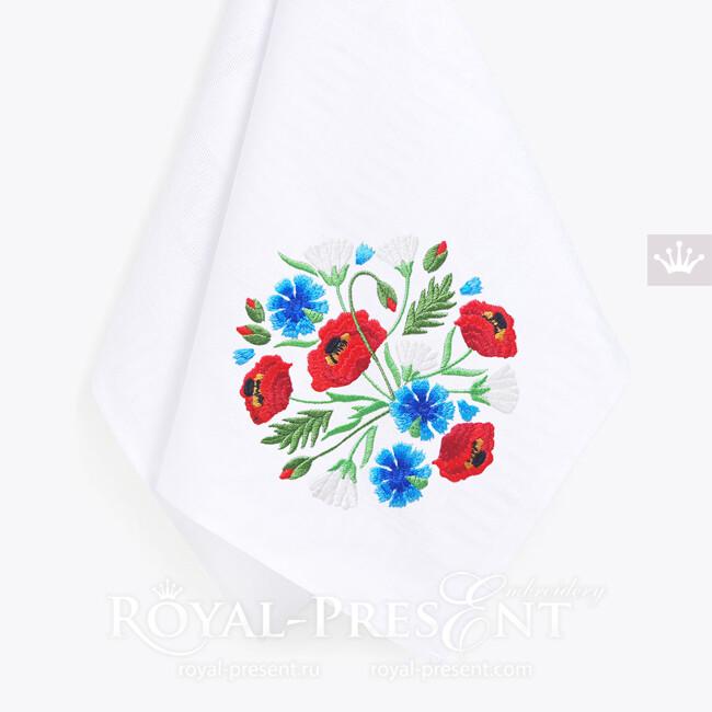 Дизайн машинной вышивки Маки, Ромашки, Васильки - 4 размера