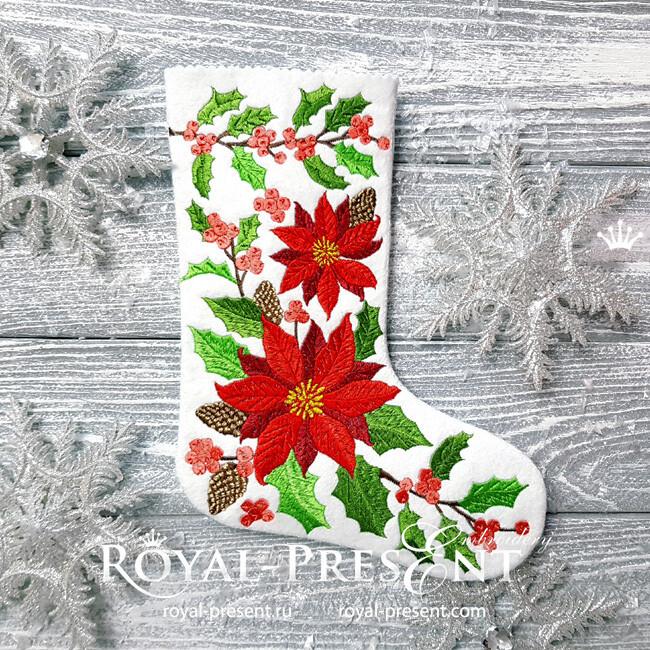 Дизайн машинной вышивки Новогодний Носок с пуансетиями - 4 размера