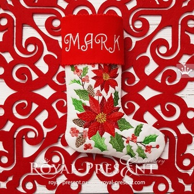 Дизайн машинной вышивки Новогодний Носок с манжетом - 4 размера