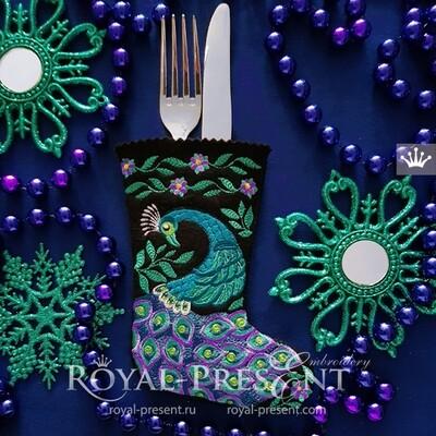 Дизайн вышивки Новогодний Носок с Павлином для приборов