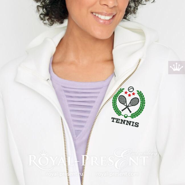 Дизайн машинной вышивки Логотип Теннис - 2 размера