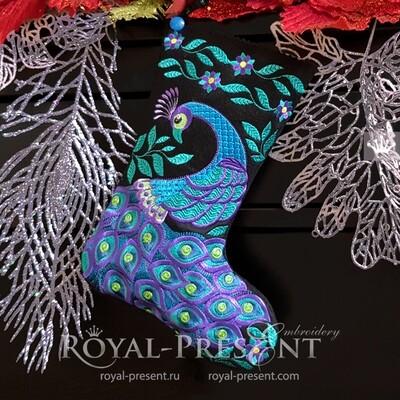 Дизайн вышивки Новогодний Носок с Павлином - 4 размера
