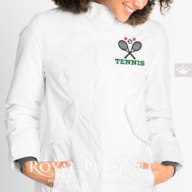 Логотип Теннис Дизайн машинной вышивки - 2 размера