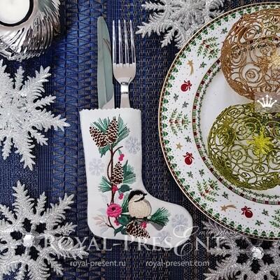 Дизайн вышивки Новогодний чехол для приборов с синичкой