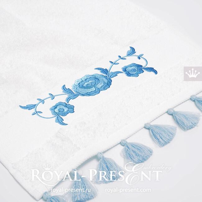 Дизайн машинной вышивки Пионы бордюр - 2 размера