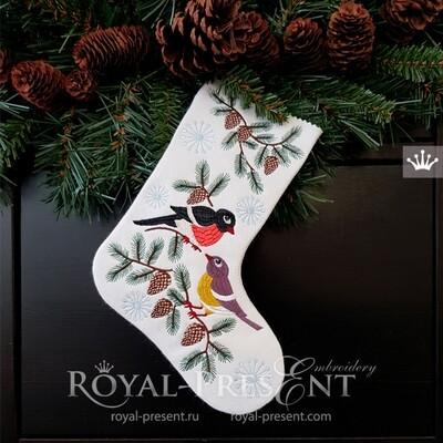 Дизайн вышивки Новогодний носок со Снегирем и Синичкой - 5 размеров