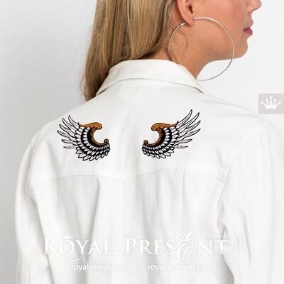 Дизайн машинной вышивки Декоративные Крылья - 2 размера