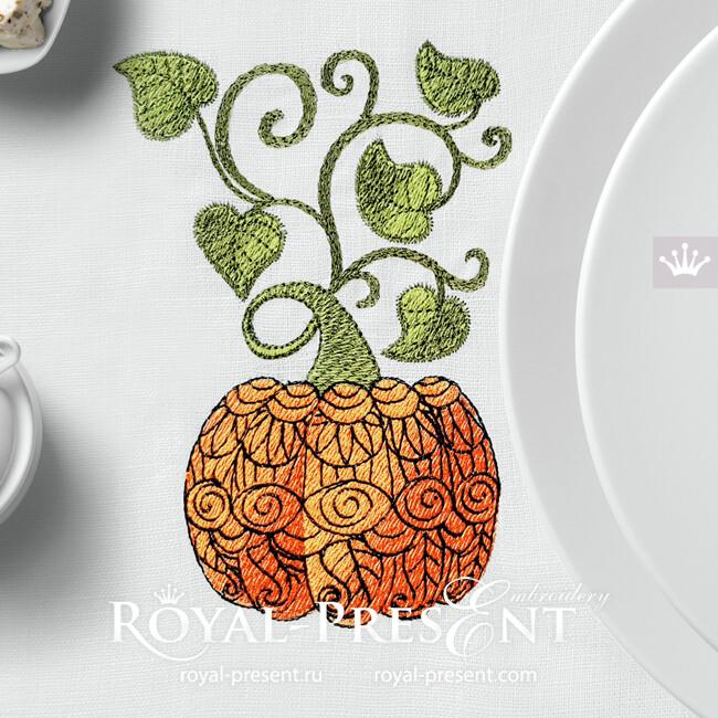 Дизайн машинной вышивки Тыква с орнаментом - 2 размера