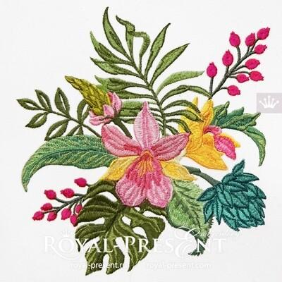 Дизайн машинной вышивки Тропический букет с орхидеями
