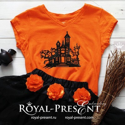 Дизайн машинной вышивки Особняк жуткий Хэллоуин - 3 размера