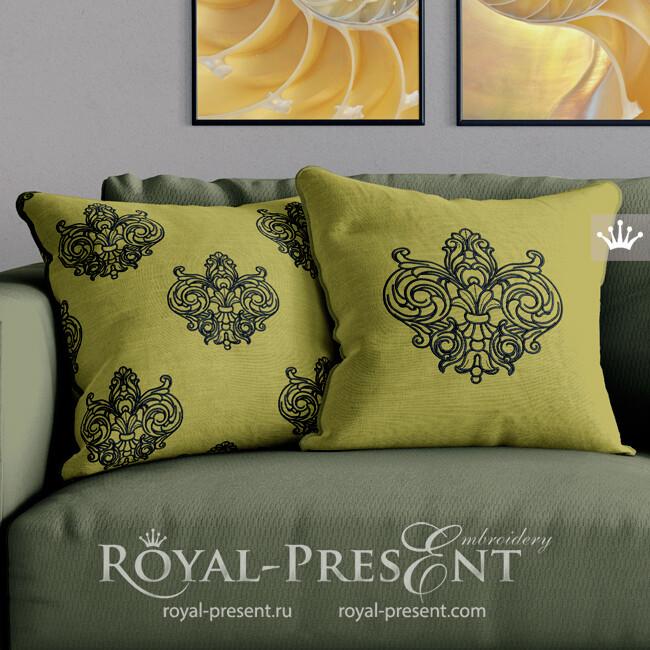Дизайн машинной вышивки Контурная Геральдическая лилия - 7 размеров
