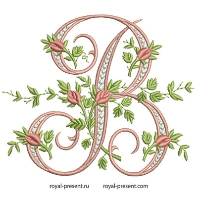Монограмма В с розами Дизайн машинной вышивки