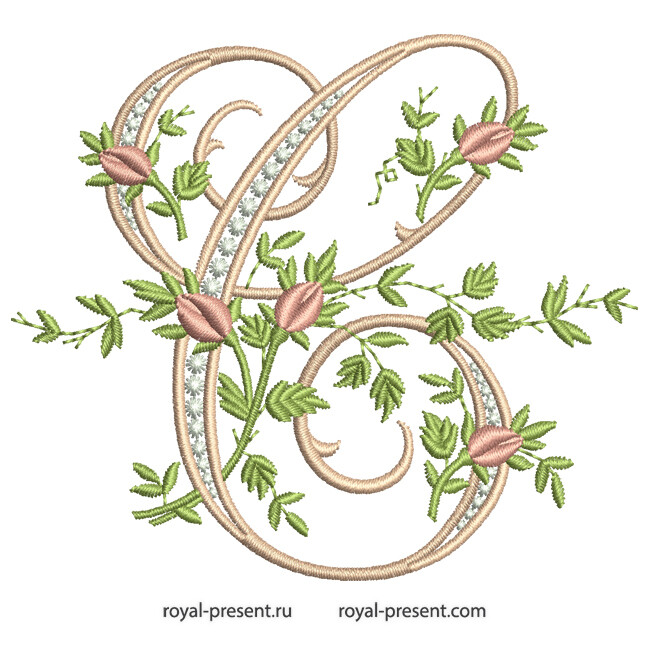 Монограмма С с розами Дизайн машинной вышивки