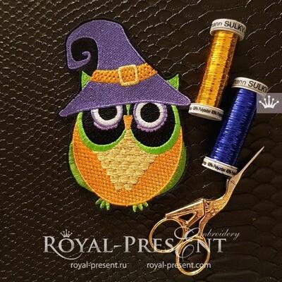 Сова Ведьма Хэллоуин Дизайн машинной вышивки - 3 размера