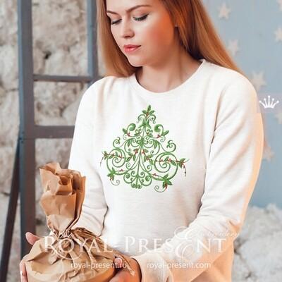 Красивая новогодняя ель Дизайн для машинной вышивки - 6 размеров