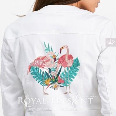 Фламинго Дизайн машинной вышивки - 4 размера