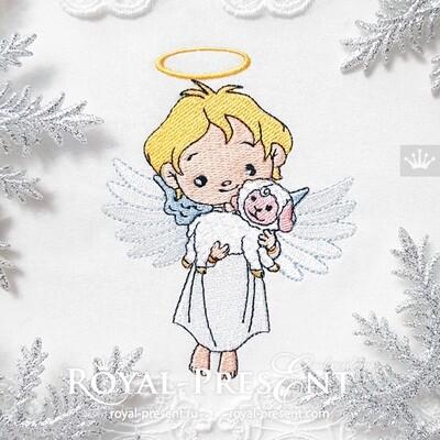 Дизайн машинной вышивки Рождественский Милый Ангел с маленькой овечкой - 3 размера