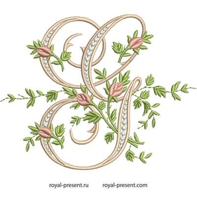 Монограмма G с розами Дизайн машинной вышивки