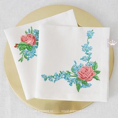 Розы с незабудками Дизайны машинной вышивки - 3 размера