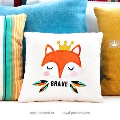 Лисичка в короне Аппликация для машинной вышивки - 6 размеров