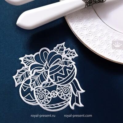 Угловые елочные шары Дизайн машинной вышивки - 3 размера