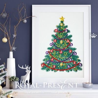 Рождественская елка Дизайн машинной вышивки - 7 размеров