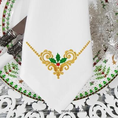 Новогодний угловой орнамент с остролистом узор для машинной вышивки - 2 размера