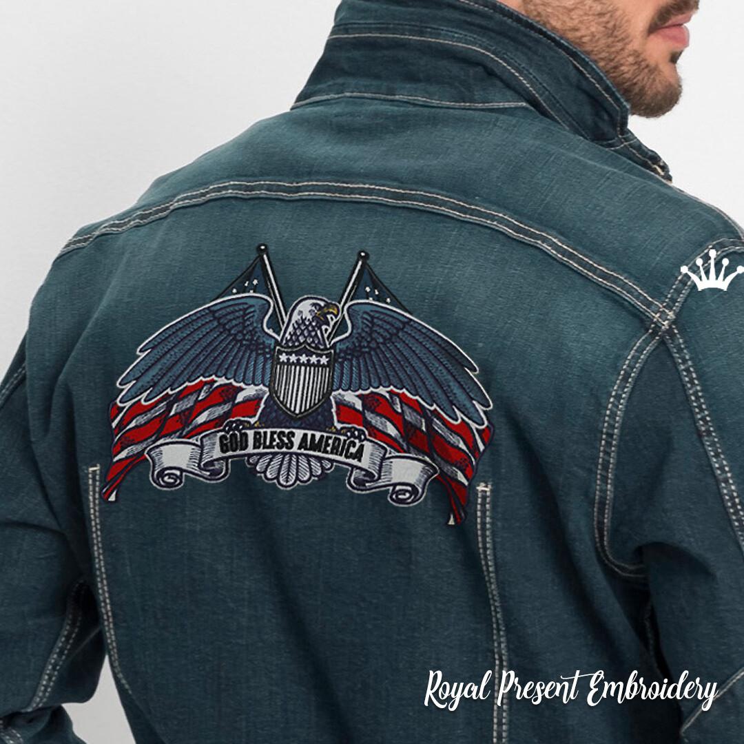 Американский Орел для нашивки Дизайн машинной вышивки - 5 размеров