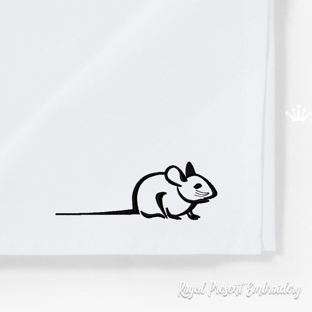 Контурная Мышка Дизайн машинной вышивки