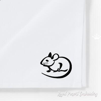 Дизайн машинной вышивки Контурная Мышка