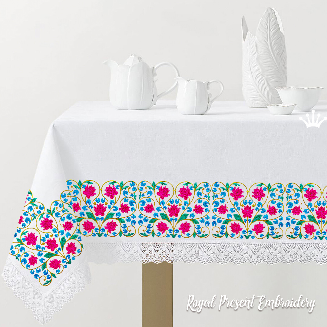Цветочный бордюр в восточном стиле Дизайн машинной вышивки - 3 размера
