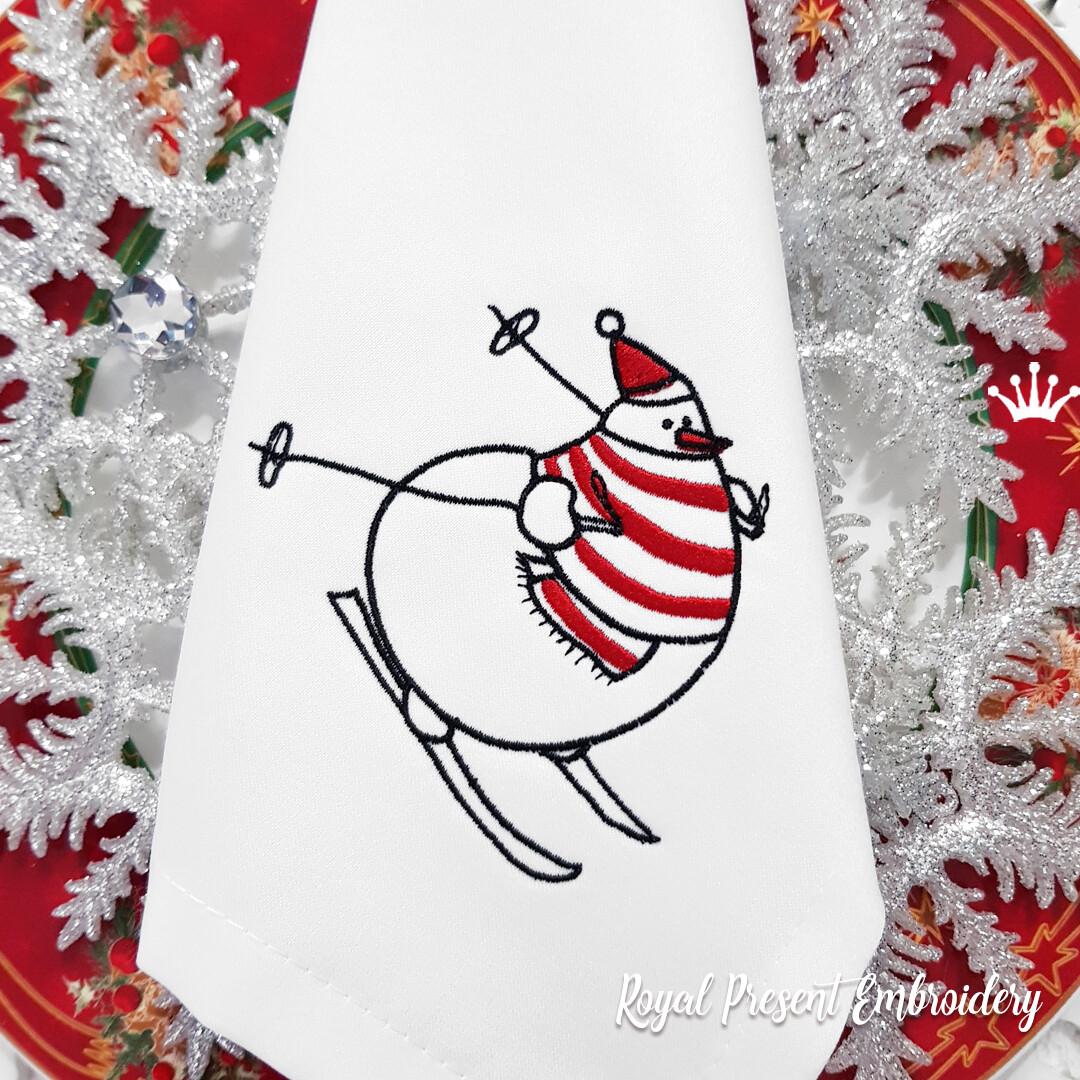 Снеговик на лыжах Дизайн машинной вышивки - 6 размеров