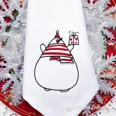 Снеговик с подарком Дизайн машинной вышивки - 6 размеров