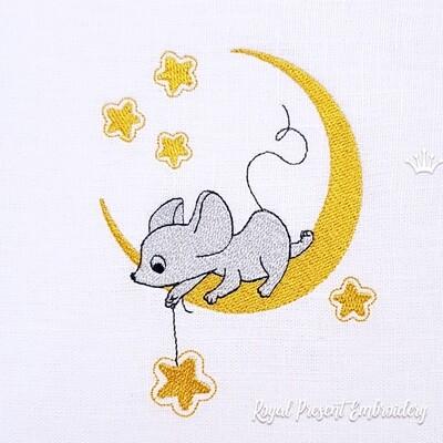 Мышка на луне Дизайн машинной вышивки