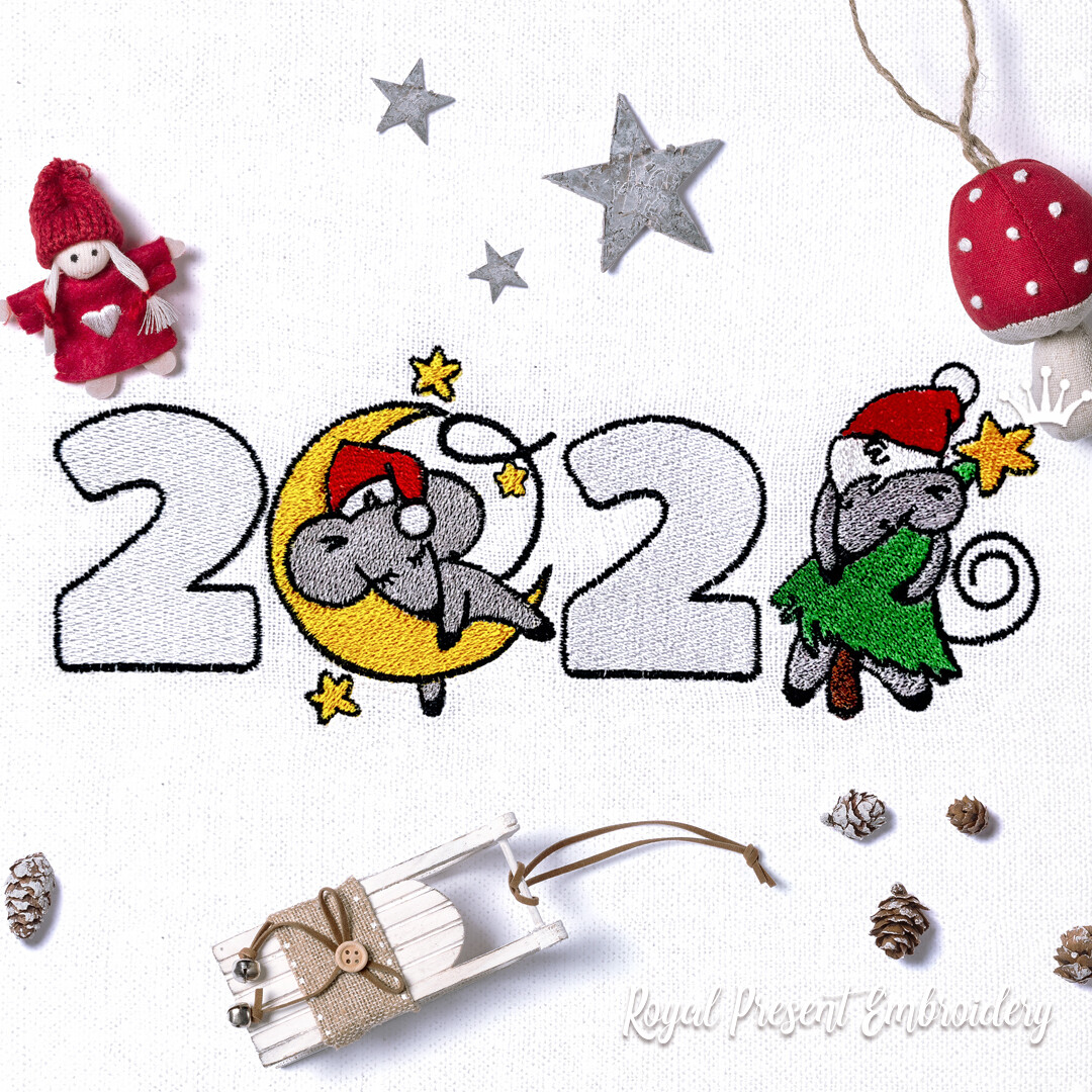 Новогодние Мышки 2020 года Дизайн машинной вышивки - 2 размера