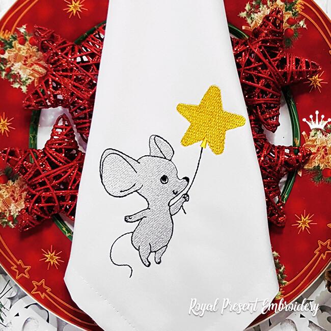 Мышка с звездочкой Дизайн машинной вышивки