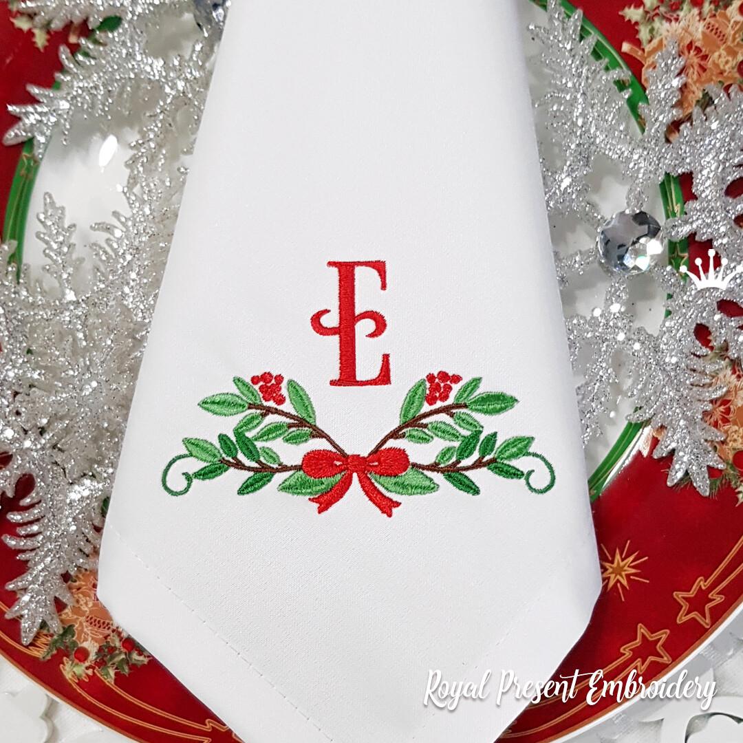 Новогоднее украшение с бантом Дизайн машинной вышивки