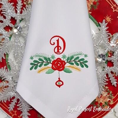 Новогоднее украшение с цветком Дизайн машинной вышивки