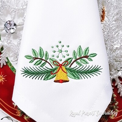 Рождественское украшение с колокольчиком Дизайн для машинной вышивки