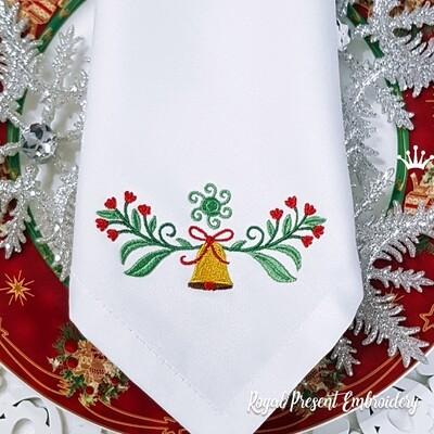 Рождественское украшение с колокольчиком и ягодами Дизайн машинной вышивки