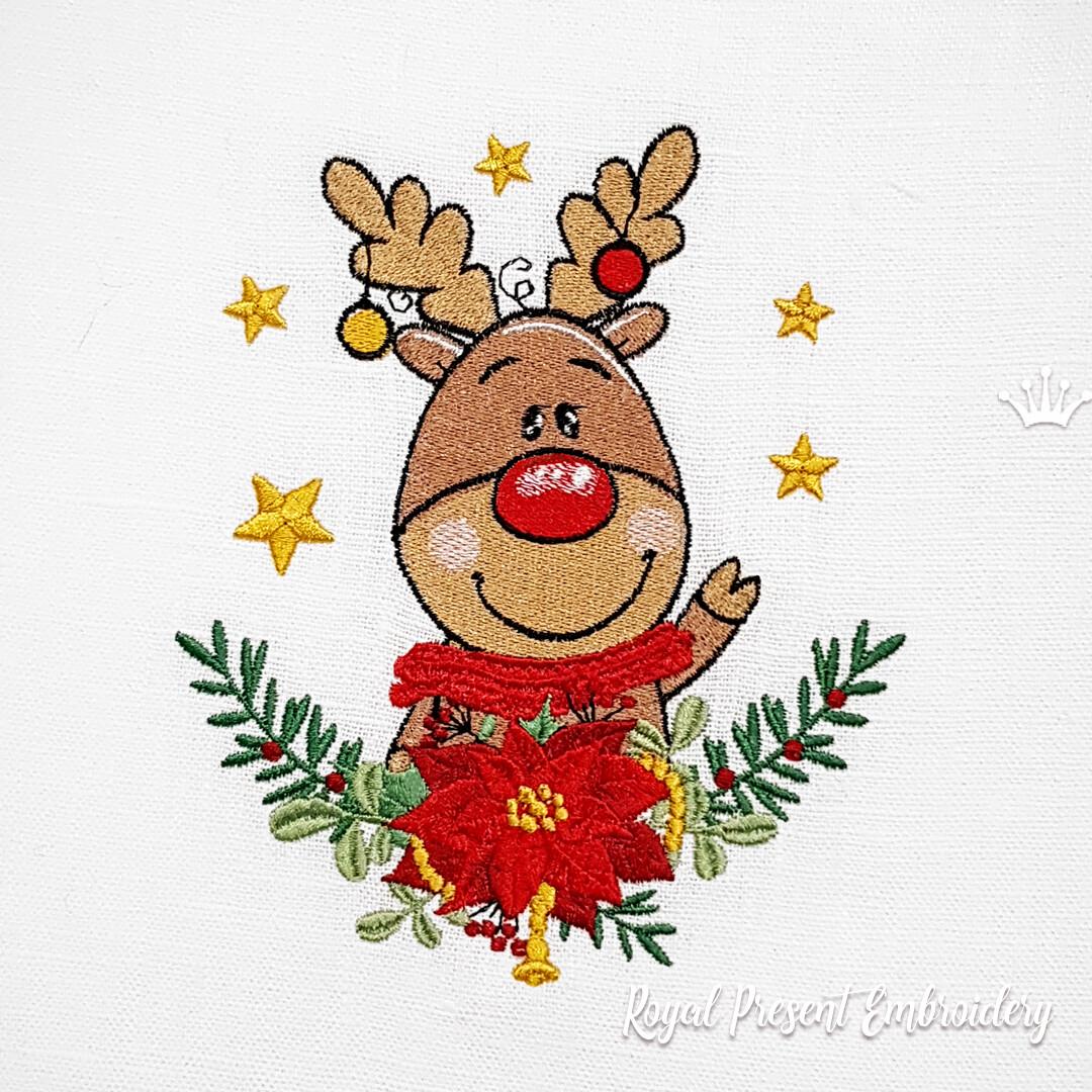 Рождественский Олень Рудольф Дизайн машинной вышивки - 2 размера