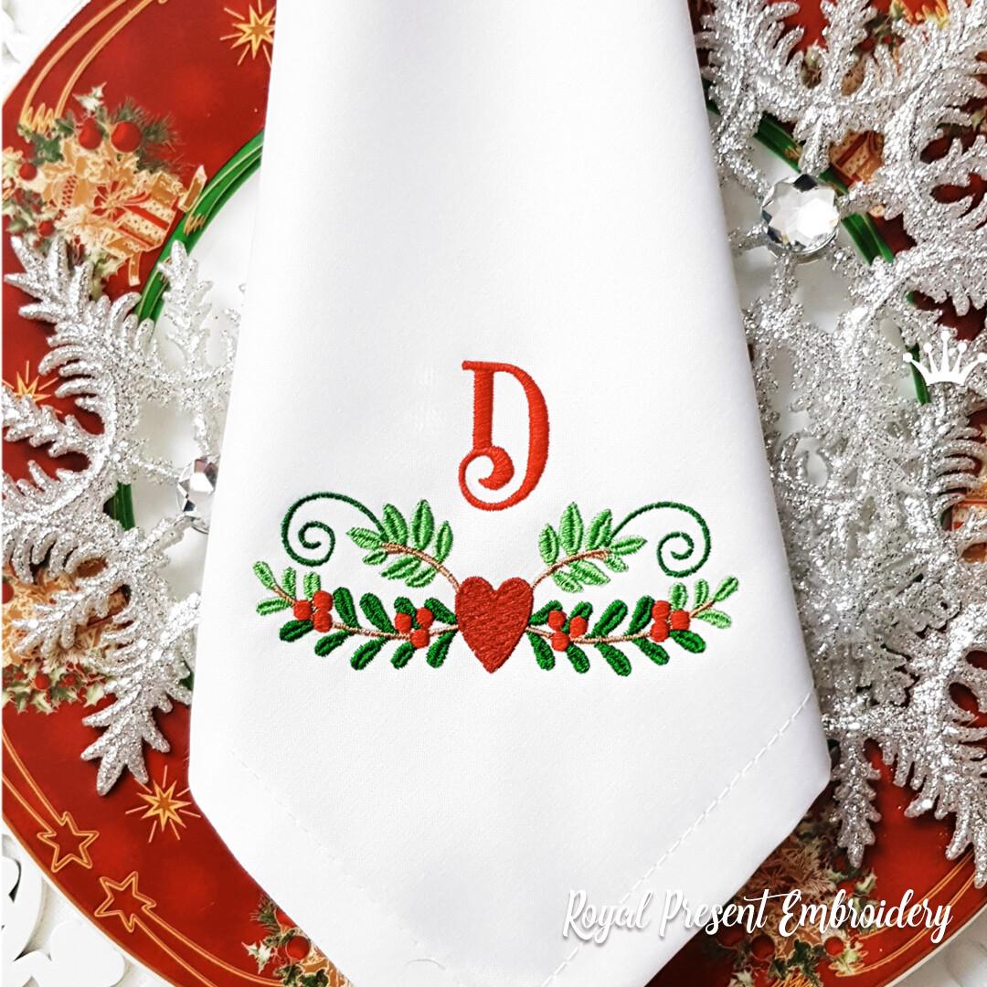 Новогодний декор с сердечком Дизайн машинной вышивки