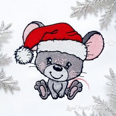 Новогодний Мышонок в колпаке Деда Мороза Дизайн машинной вышивки