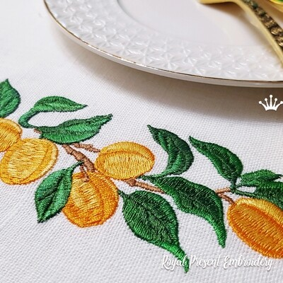 Ветка Абрикосы бордюр Дизайн машинной вышивки - 4 размера