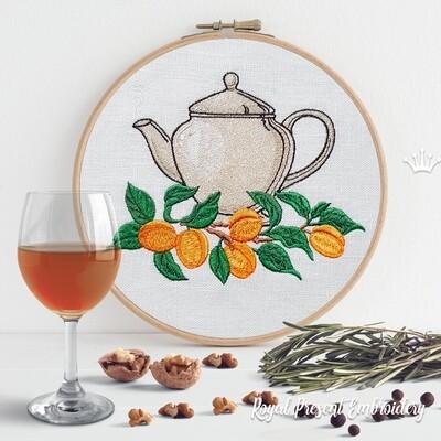 Чайник с Абрикосами Дизайн машинной вышивки - 4 размера