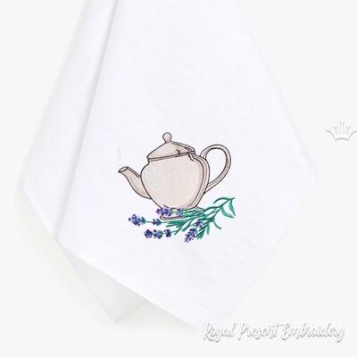 Чайник с лавандой Дизайн машинной вышивки - 4 размера