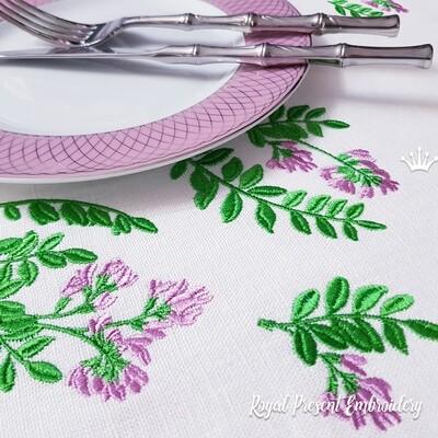 Веточки Астрагала Дизайны машинной вышивки - 3 размера