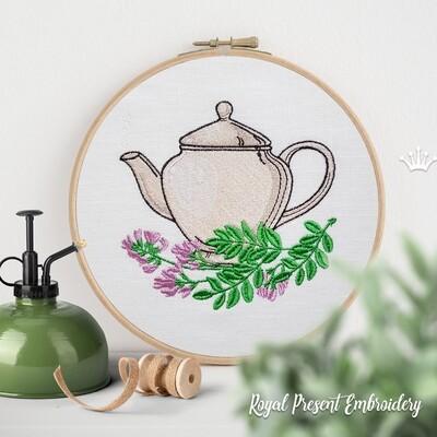 Чай с Астрагалом Дизайн машинной вышивки - 4 размера