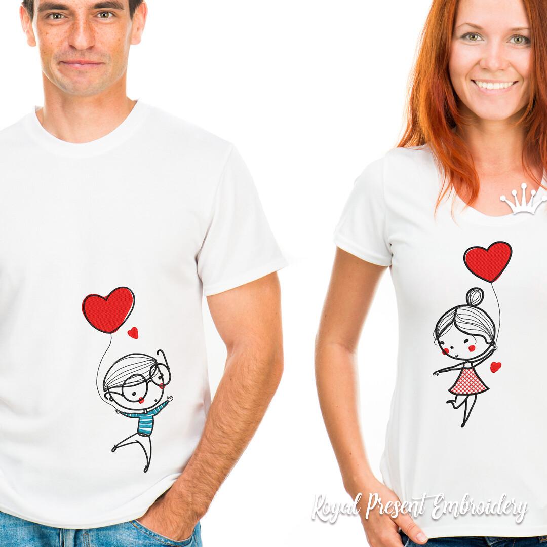 Девочка и Мальчик на шариках Дизайны машинной вышивки - 4 размера