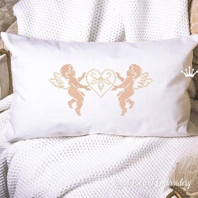 Два Ангела с сердечком Дизайн машинной вышивки крестом - 2 размера